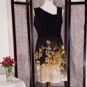 Elie Tahari black and floral sleeveless dress.